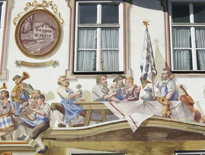 Painting on the Wall of the Hotel Post in Oberammergau: Bavarians Enjoying Life