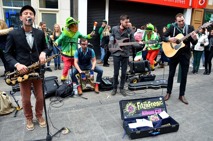 Dublin Band The Fitzafrenics Perform on Grafton Street on Paddy's Day