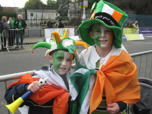 Irish Lads Arrive Early to Get a Good Spot at the 2010 Parade
