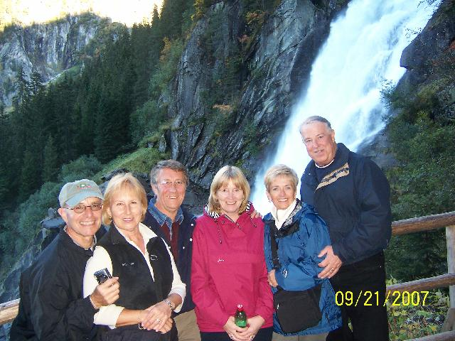 Joanne and Ted Mincica, David and Joy Musson, Judy and Don Baren at Krimml Falls