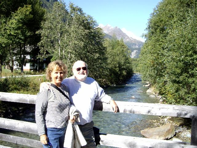 Sue and Ken O'Donnell on the bridge over the River M�ll in Heiligenblut